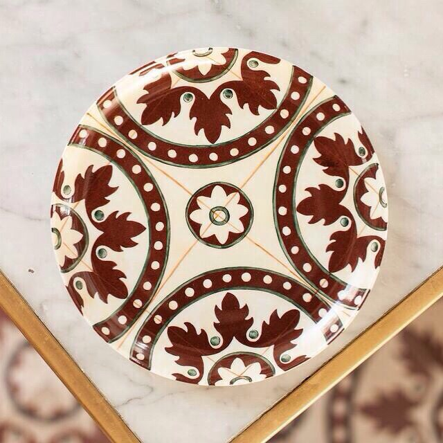 Tiles Red  hand painted plate