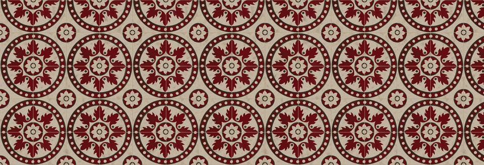 Design Carrelage Rouge: da un pavimento dei primi del '900 è stato creato un disegno per rivestimento murale per un ristorante a Beirut. Wallpaper. - Carrelage RougeDesign: from a floor of the early 900 was created a design for a wall covering for a restaurant in Beirut. Wallpaper.