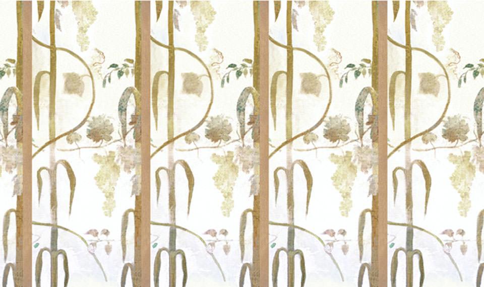 Design Growing: da un affresco seicentesco è stato creato un disegno a repeat molto largo come muro dipinto. Wallpaper. - Growing Design: from a seventeenth-century fresco was created a very wide repeat pattern as painted wall. Wallpaper